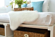 DIY platfrom bed with storage baskets inside