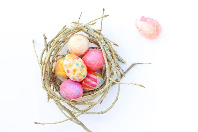 DIY colorful decoupage Easter eggs (via makeanddocrew.com)