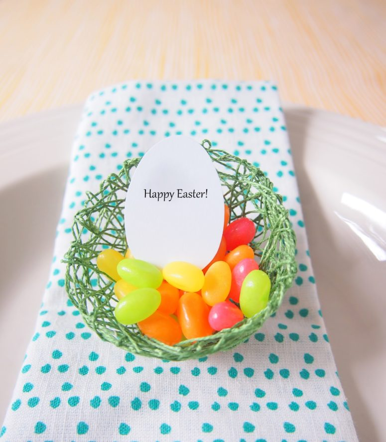 DIY string egg nests with candies (via kimberlystoney.blogspot.com)