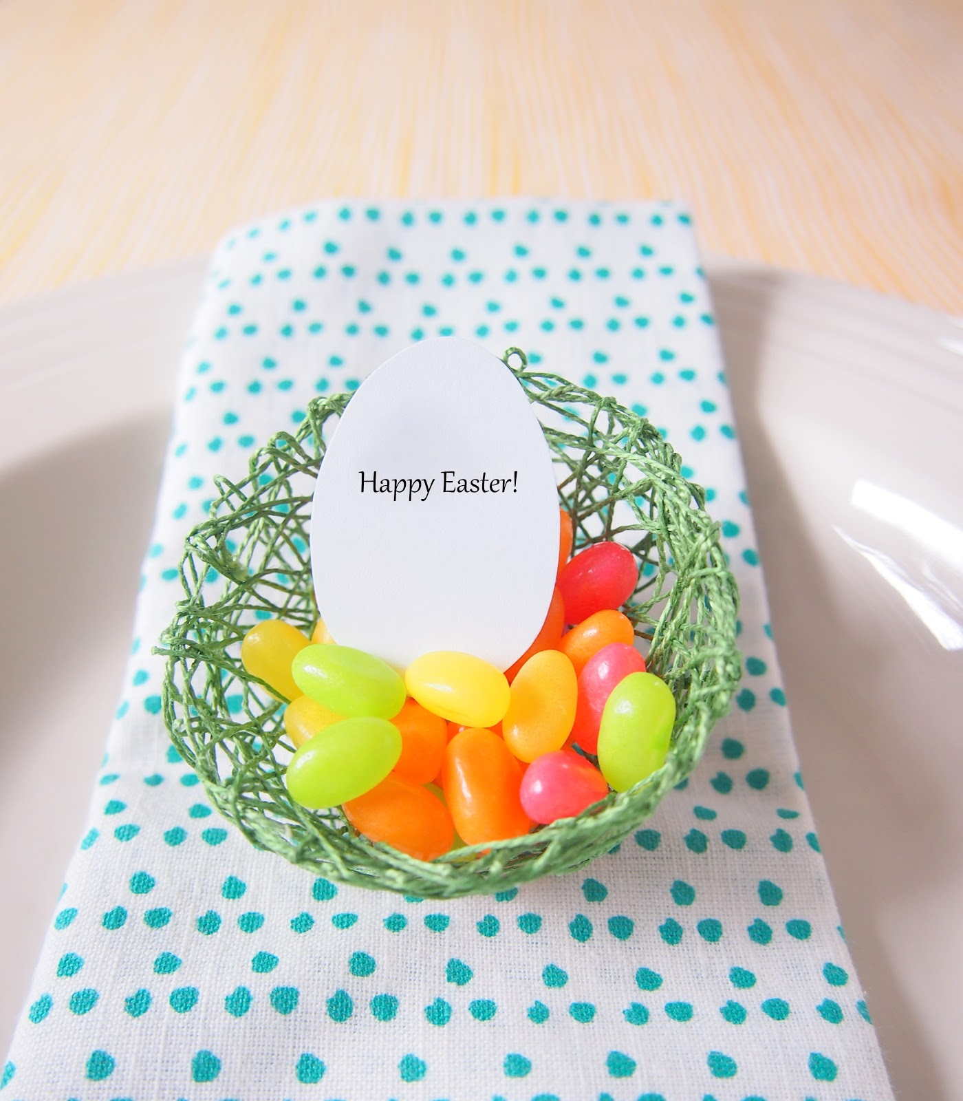 DIY string egg nests with candies