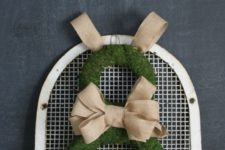 DIY bunny-shaped moss and burlap Easter wreath