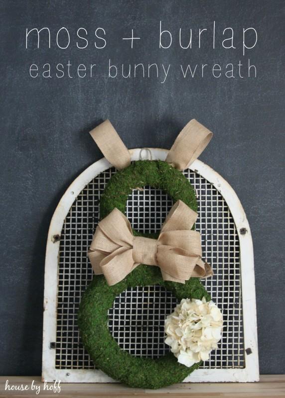 DIY bunny-shaped moss and burlap Easter wreath (via www.housebyhoff.com)