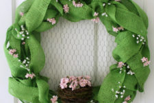 DIY sage green burlap Easter wreath with a nest