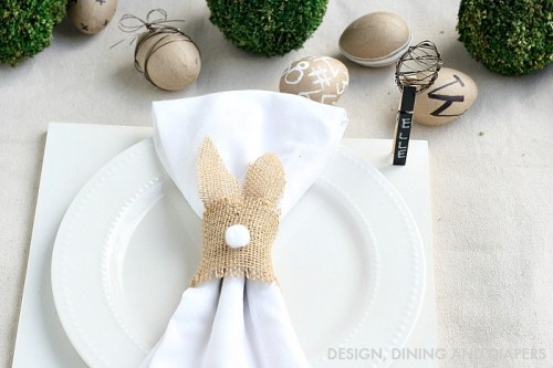 DIY burlap bunny napkin rings with tails (via www.shelterness.com)