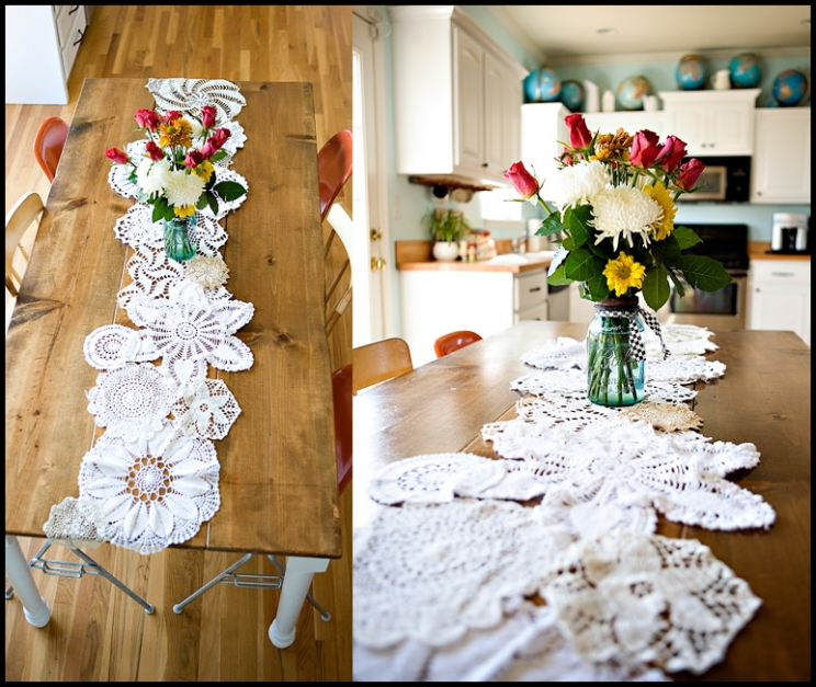 DIY doily table runner (via www.ashleyannphotography.com)