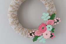 DIY lace, burlap and flower spring wreath