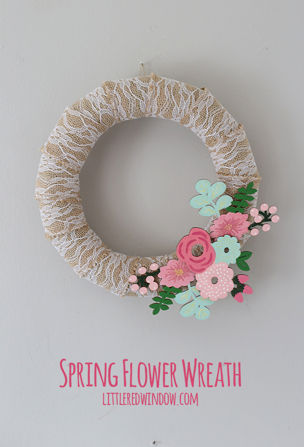 DIY lace, burlap and flower spring wreath (via littleredwindow.com)