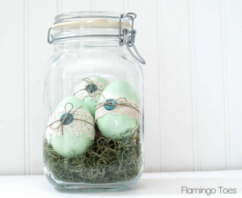 DIY lace and button Easter eggs