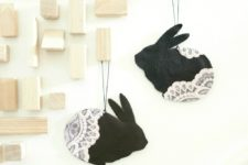 DIY Easter leather lace bunnies