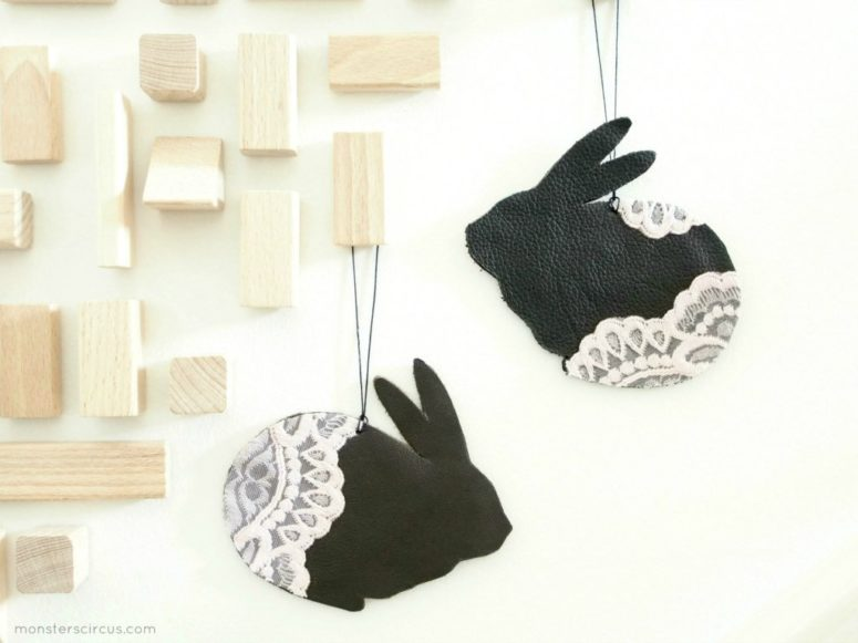 DIY Easter leather lace bunnies (via monsterscircus.com)