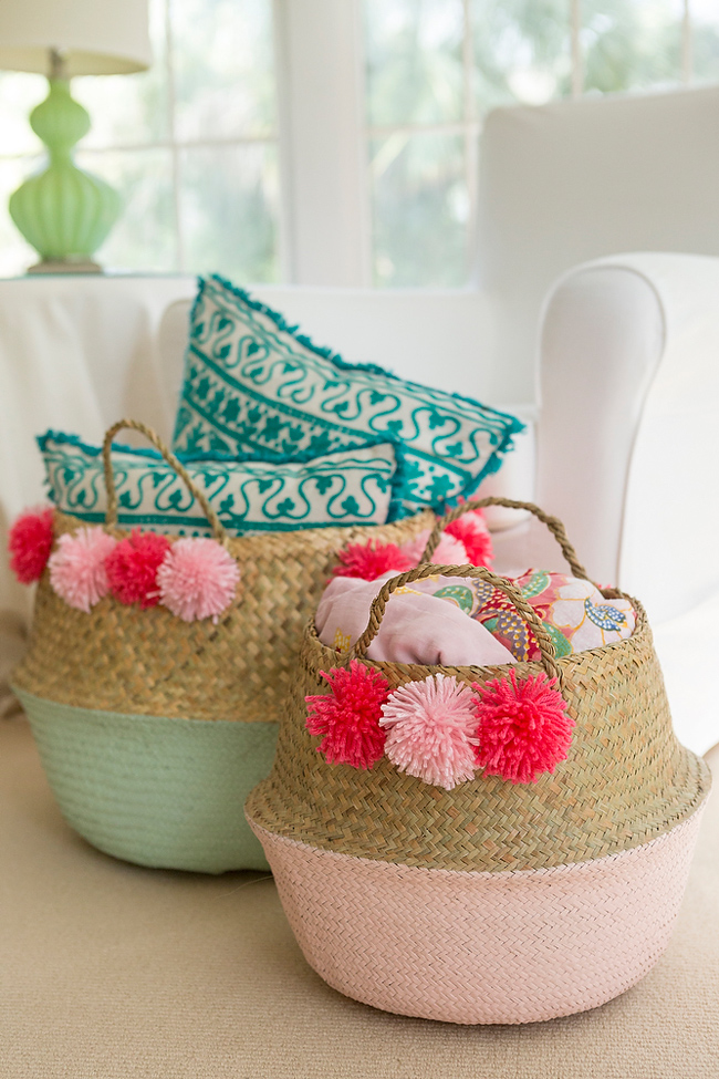 DIY colorful pompom baskets for decor (via acoastalbride.com)