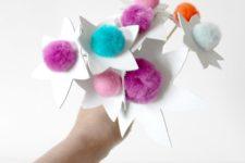 DIY pompom flowers with leather