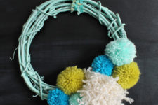 DIY mint oversized pompom wreath for spring decor