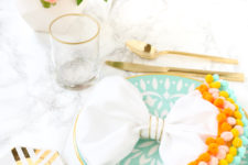 DIY pompom trimmed napkins for spring meals