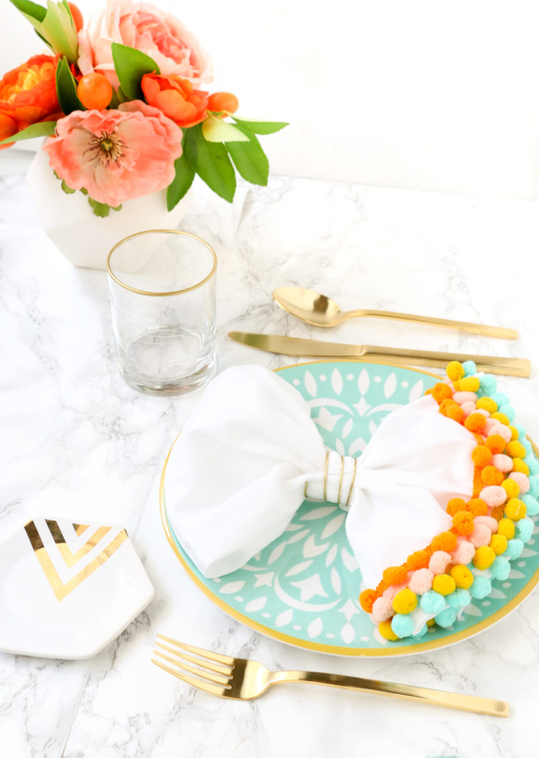 DIY pompom trimmed napkins for spring meals (via www.akailochiclife.com)