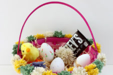 DIY colorful pompom Easter baskets