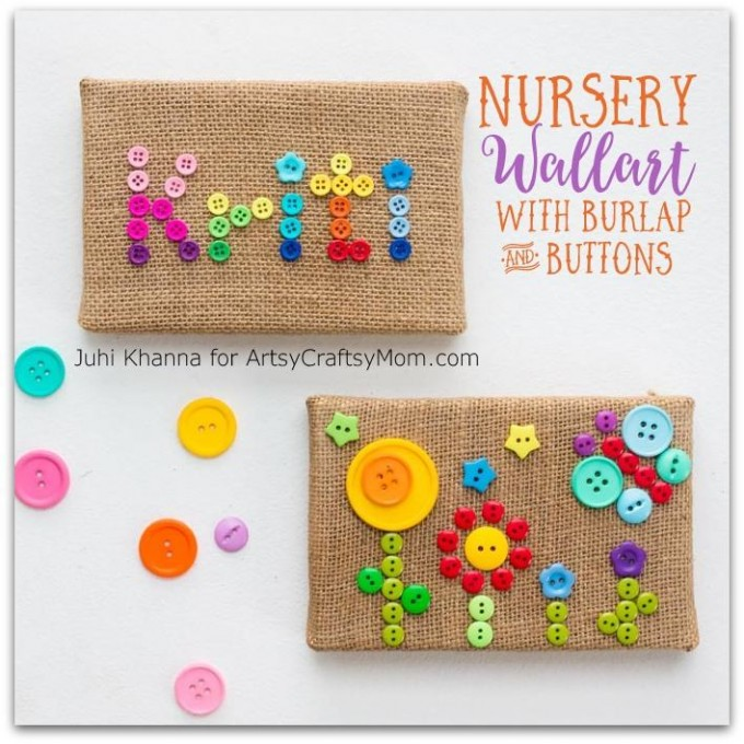 DIY burlap and colorful button wall art decor (via artsycraftsymom.com)