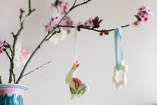 DIY cherry blossom bunny Easter ornaments