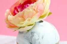 DIY clay orb vases for spring flower arrangements