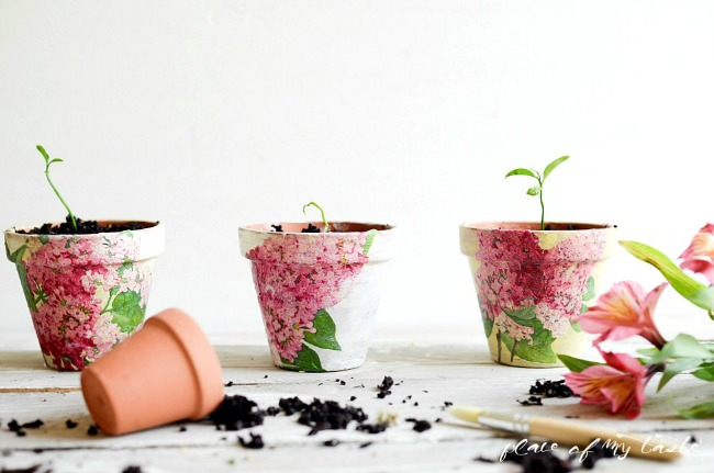 DIY decoupaged clay pots