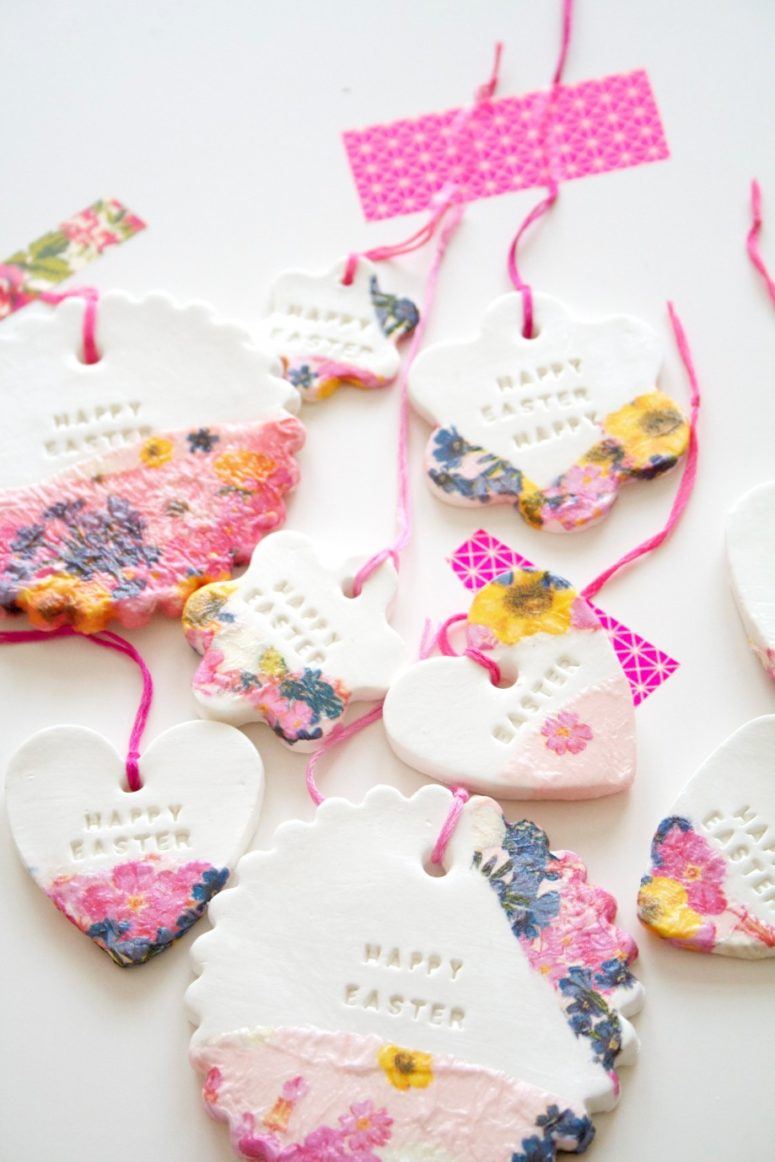DIY Easter clay ornaments or gift tags (via mahalolena.com)