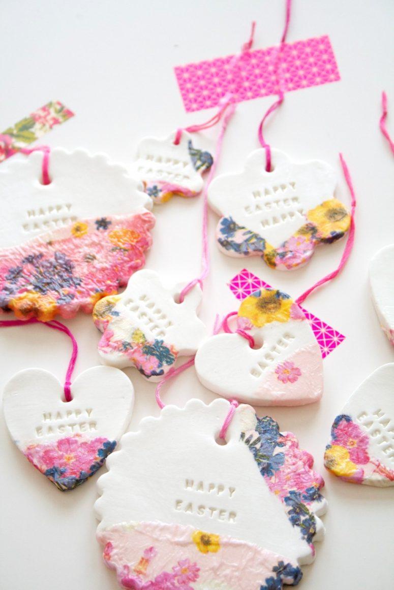 DIY Easter clay ornaments or gift tags (via mahalolena.com)