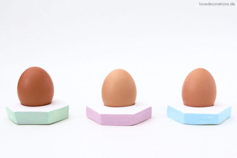 DIY clay geometric egg holders (via https:)