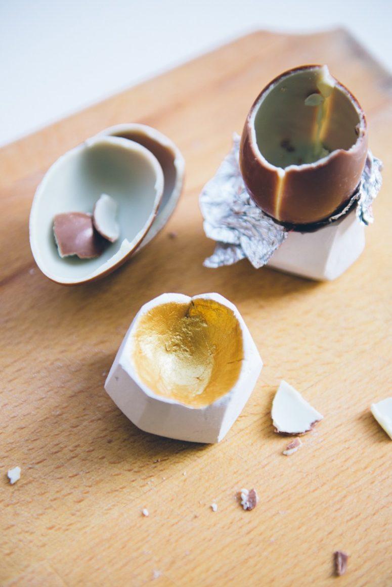DIY faceted gold foil egg cups (via kittenhood.ro)
