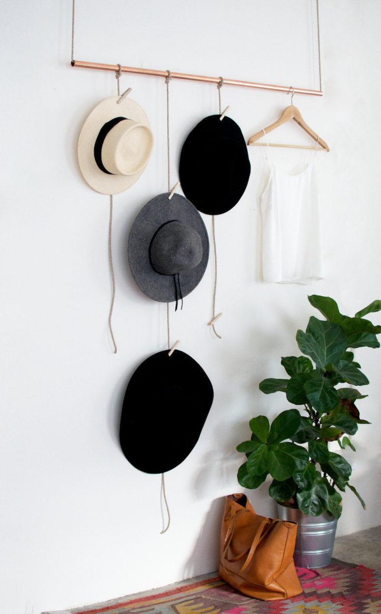 DIY copper hanging hat rack (via apairandasparediy.com)