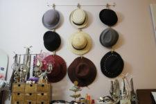 DIY hanging hat organizer