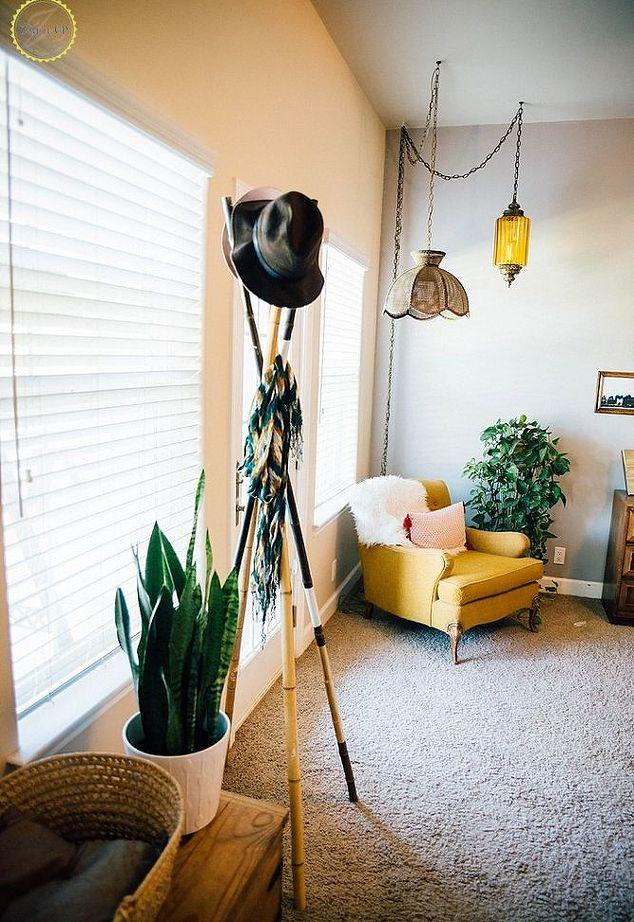 DIY bamboo post rack for coats, bags and hats (via www.hometalk.com)