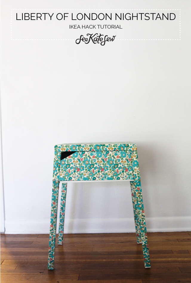 DIY Selje nightstand hack with floral fabric (via seekatesew.com)