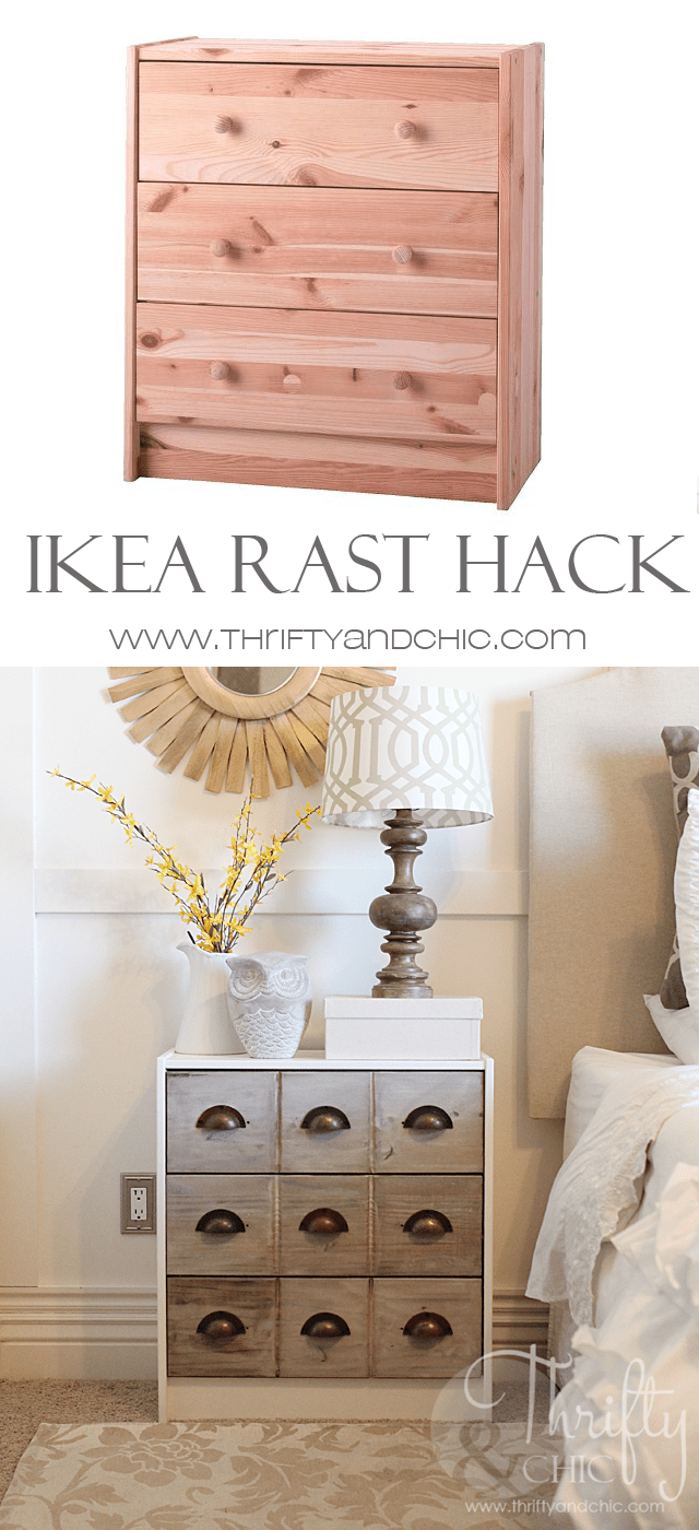 DIY Ikea Rast dresser with cute handles and a wooden finish (via www.thriftyandchic.com)