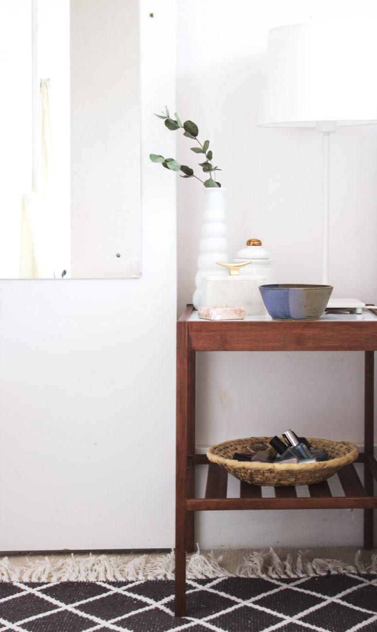 DIY IKEA Nesna bedside table hack (via thelovelydrawer.com)