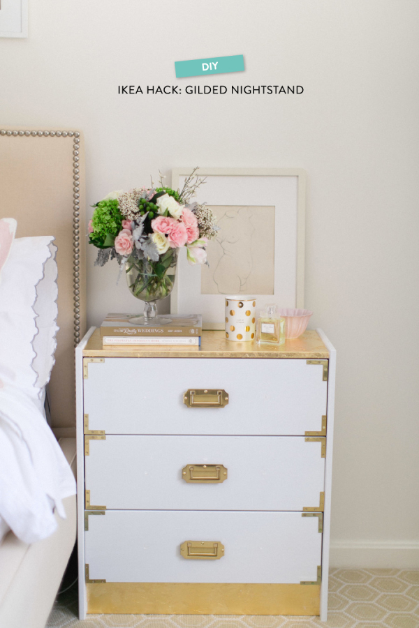 DIY glam gilded Ikea Rast hack (via www.stylemepretty.com)