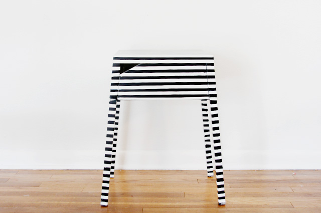 DIY Ikea Selje nightstand striped hack (via seekatesew.com)