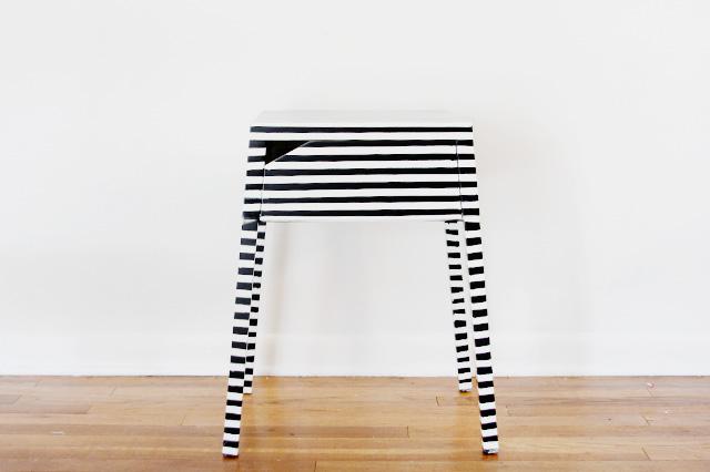DIY Ikea Selje nightstand striped hack (via seekatesew.com)