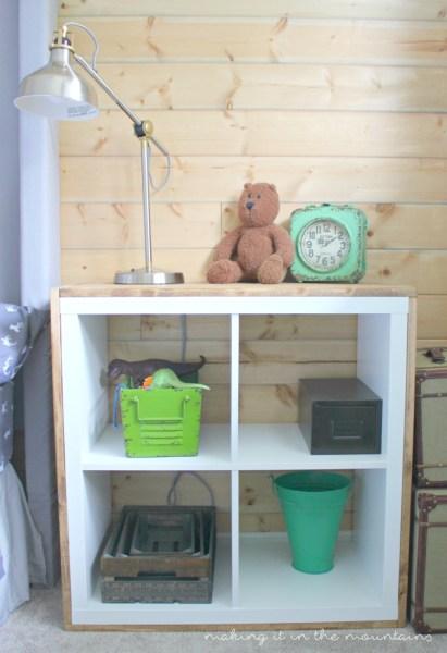 DIY Ikea Kallax shelf hack into a nightstand (via www.makingitinthemountains.com)