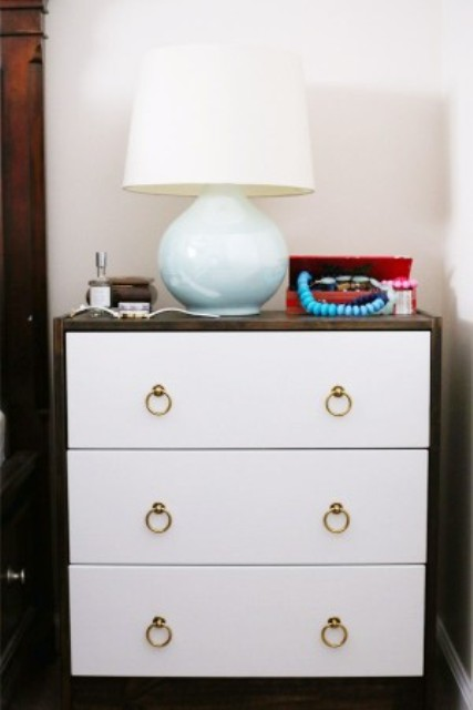 DIY modern Ikea Rast hack in white (via www.shelterness.com)