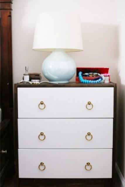 DIY modern Ikea Rast hack in white (via www.shelterness.com)