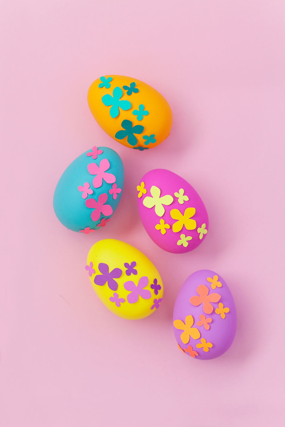 DIY bold neon paper flower eggs