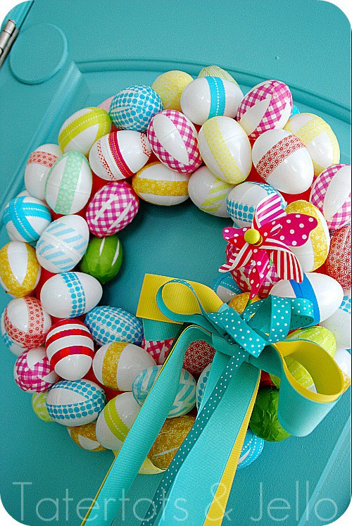 DIY washi tape Easter egg wreath (via tatertotsandjello.com)