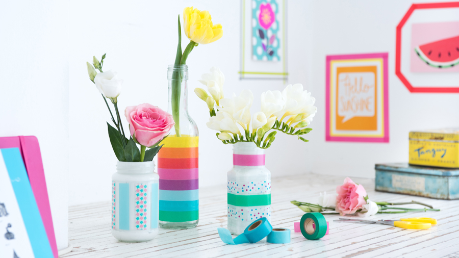DIY washi tape vase decor for spring