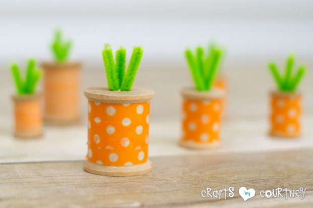 DIY spool washi tape carrots for Easter decor