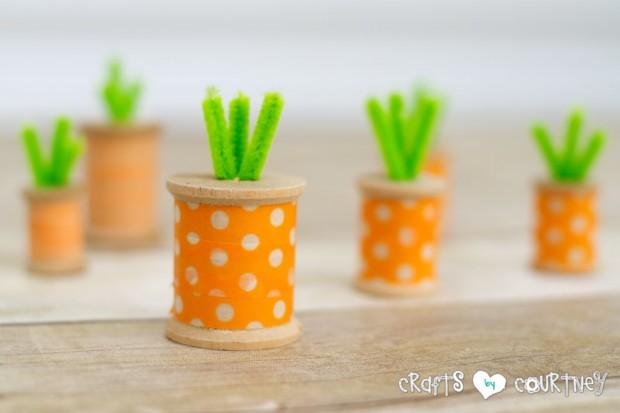 DIY spool washi tape carrots for Easter decor (via www.craftsbycourtney.com)