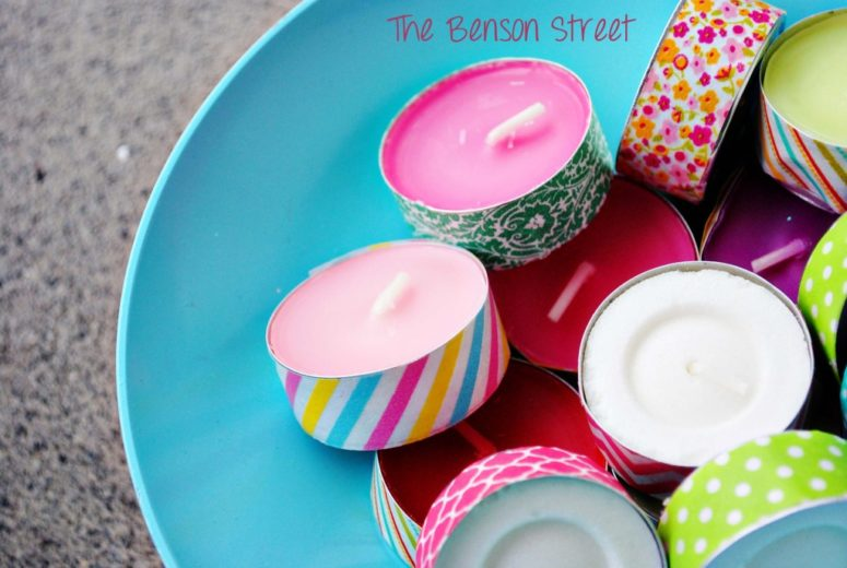 DIY washi tape tealights for spring (via www.thebensonstreet.com)