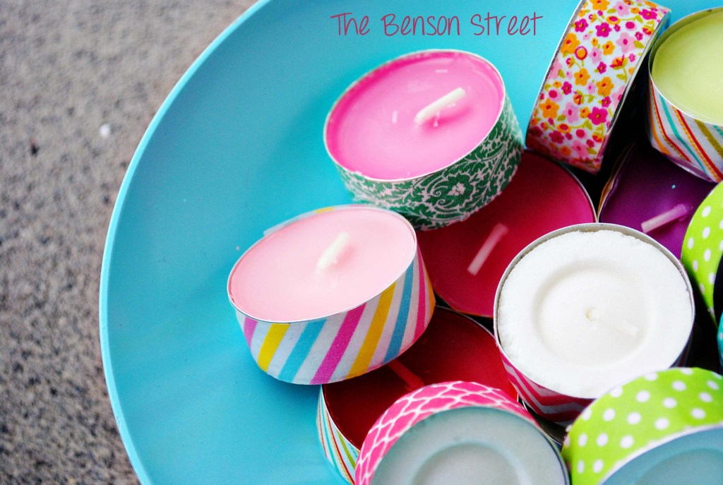 DIY washi tape tealights for spring