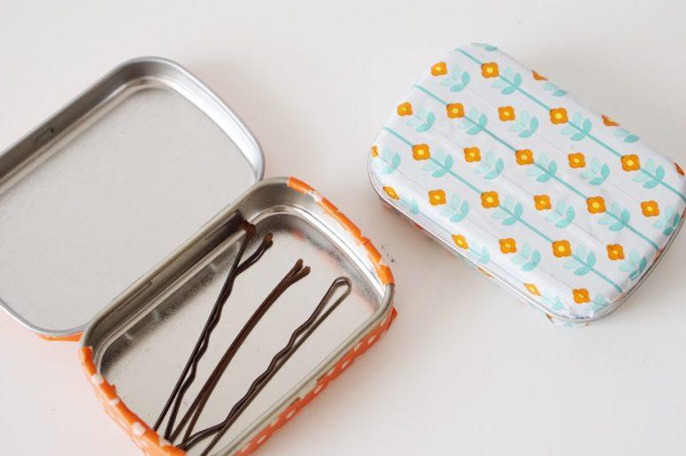 DIY washi tape upcycled mint tins (via diycandy.com)