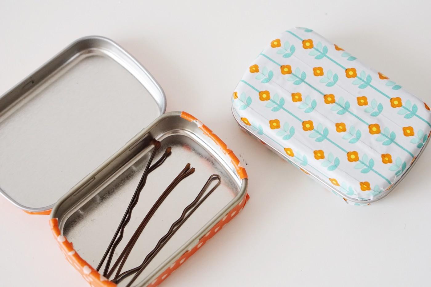 DIY washi tape upcycled mint tins