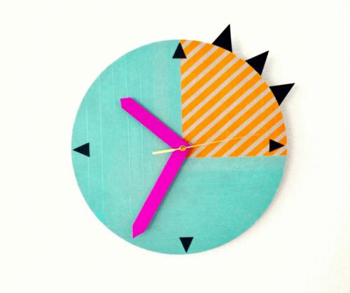 DIY bold spring washi tape clock decor (via www.shelterness.com)